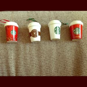 Lot of 4 Starbucks Christmas Ornaments